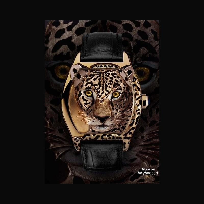 watch cartier tortue xl d cor jaguar cartier d 39 art hpi00412 yellow gold engraving in relief. Black Bedroom Furniture Sets. Home Design Ideas