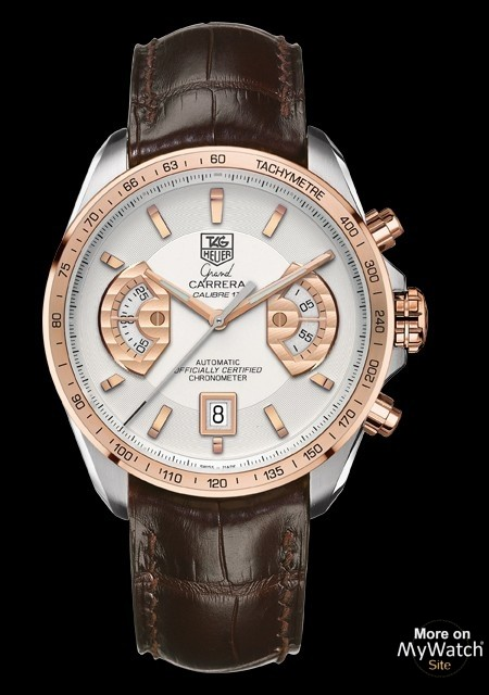 GRAND CARRERA Calibre 17 RS Chronograph - Steel - Pink Gold - Alligator Strap - TAG Heuer