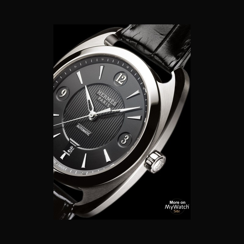 Watch Hermès Dressage Quantième Simple | Dressage 037803WW00 Steel Opaline Black Dial Matt Black Alligator Strap