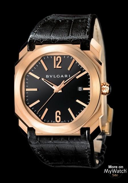 new product 04a8b f1223 Watch Bvlgari Octo | Octo BGOP41BGLD Pink Gold - Alligator Bracelet