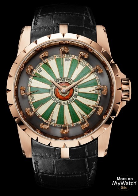 watch roger dubuis excalibur table ronde excalibur rddbex0398 pink gold grand feu enamel. Black Bedroom Furniture Sets. Home Design Ideas