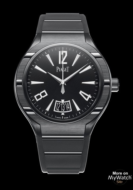 watch piaget polo fortyfive automatique polo g0a37003 black dlc titanium rubber and steel strap. Black Bedroom Furniture Sets. Home Design Ideas