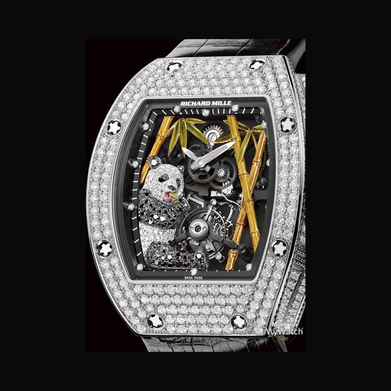 Watch Richard Mille RM 26-01 Tourbillon Panda | RM 026 White Gold -  Diamonds - Leather Strap