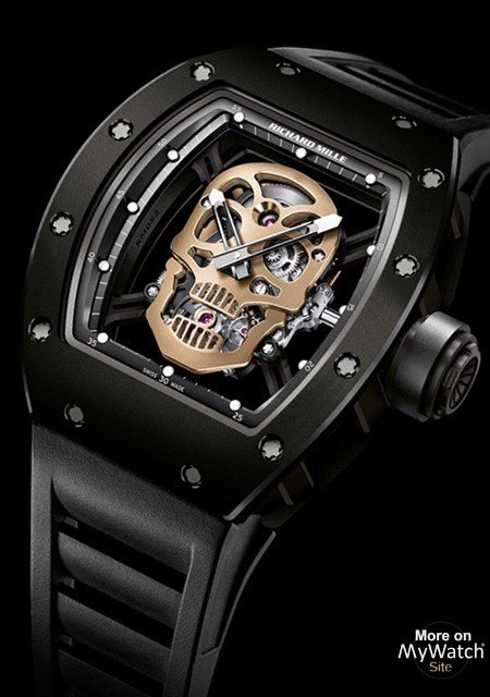 Watch Richard Mille Rm 52 01 Tourbillon Skull Nano Ceramique Rm 52 Tzp Ceramic And Carbon Nanotubes Rubber Bracelet