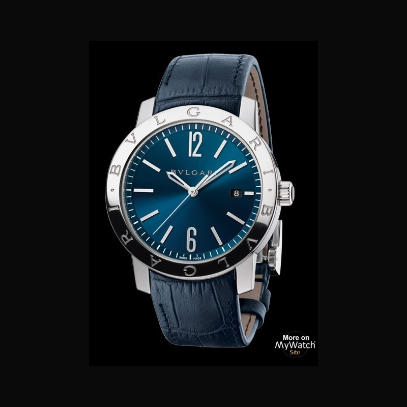 Watch bvlgari bulgari bulgari bulgari bulgari 102355 steel blue dial alligator strap for Bvlgari watches