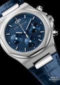 Laureato Chronographe - Acier sur cuir cadran bleu foncé