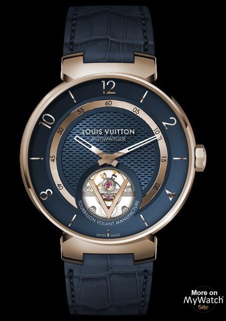 5dcc2328550d Watch Louis Vuitton Tambour Moon Tourbillon Volant Blue
