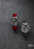 Tambour Essentiel Grey - GMT Date - strap rouge  -