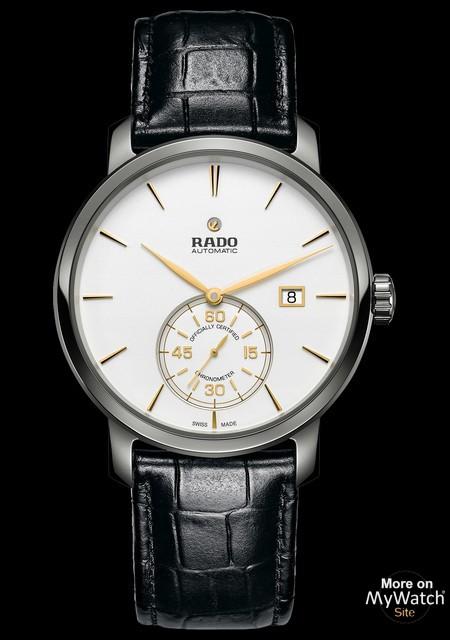 Rado Diamaster Petite Seconde cadran blanc bracelet noir (montre unisexe)