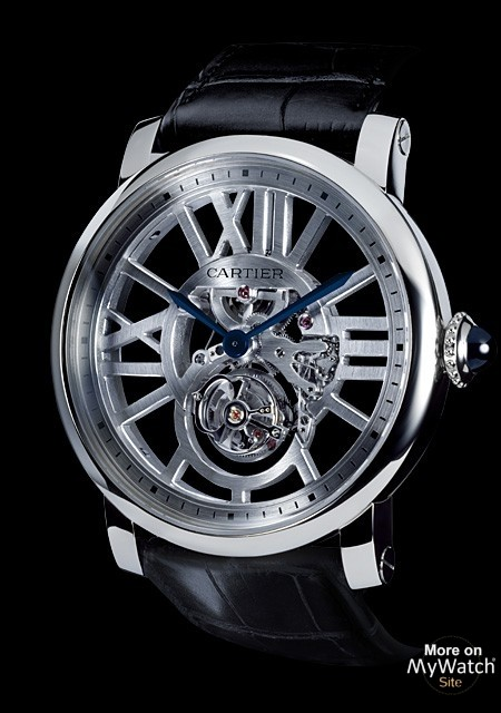 watch cartier rotonde de cartier tourbillon volant squelette fine watchmaking collection. Black Bedroom Furniture Sets. Home Design Ideas