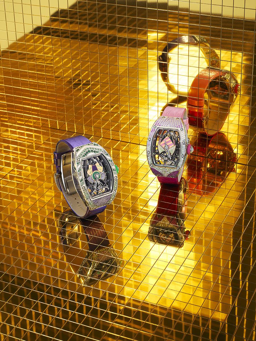 Les modèles Liz et Bianca de la nouvelle collection Richard Mille RM71-02 Tourbillon Automatique Talisman.