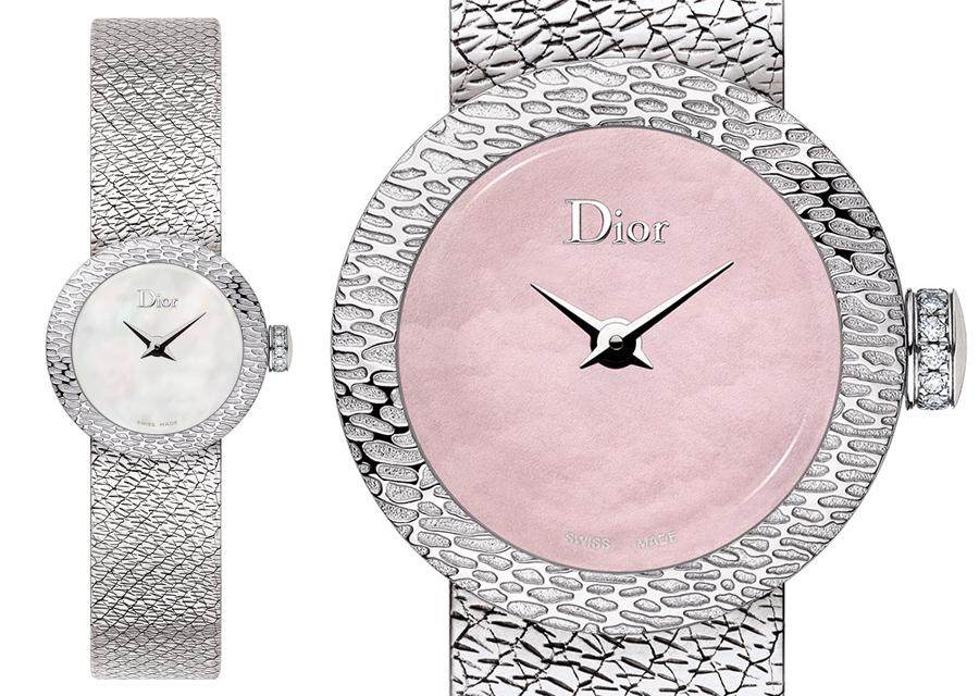 Mini D de Dior en acier à lunette et bracelet frappés de motifs textiles en relief