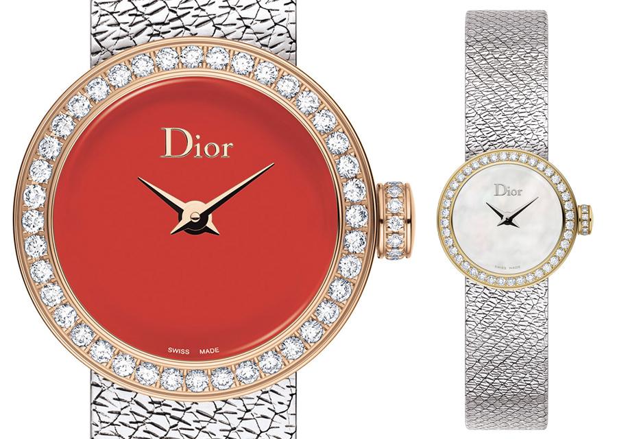 Les Mini D de Dior bicolores en acier et or jaune ou or rose sont serties de diamants sur la lunette