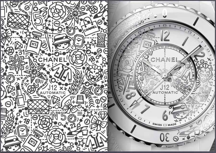 La montre J12-20 Calibre 12.1 en céramique blanche, acier et diamants