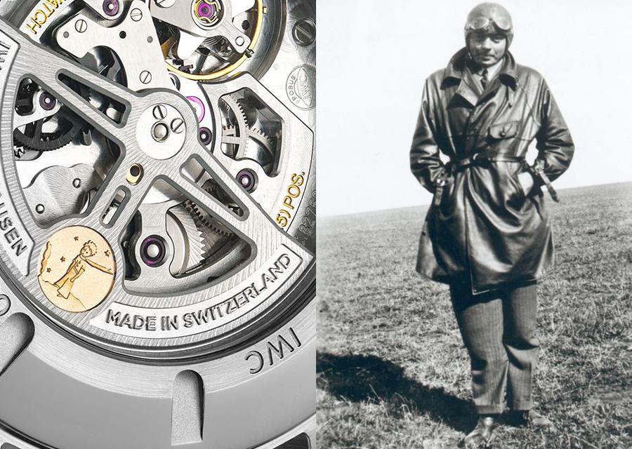 Sur la Montre d'Aviateur Timezoner Le Petit Prince, la masse oscillante est décorée d'un médaillon représentant le personnage imaginé par Antoine de Saint-Exupéry