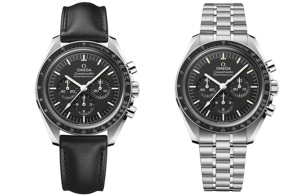 L'Omega Speedmaster Moonwatch Master Chronometer en acier avec verre saphir sur bracelet acier ou sur bracelet cuir noir