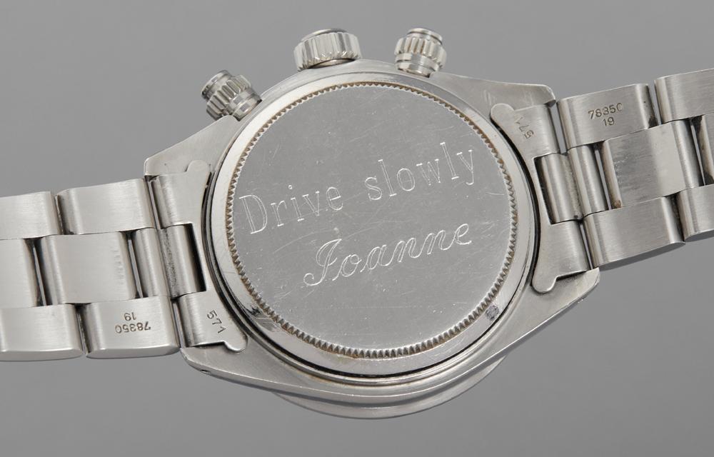 Le chronographe Rolex Daytona Big Red de Paul Newman était gravé au dos Drive Slowly Joanne
