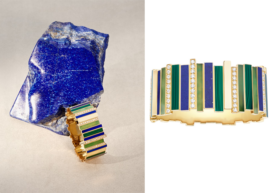 Le jonc et la bague aux différentes nuances bleues et vertes de la collection Gem Dior