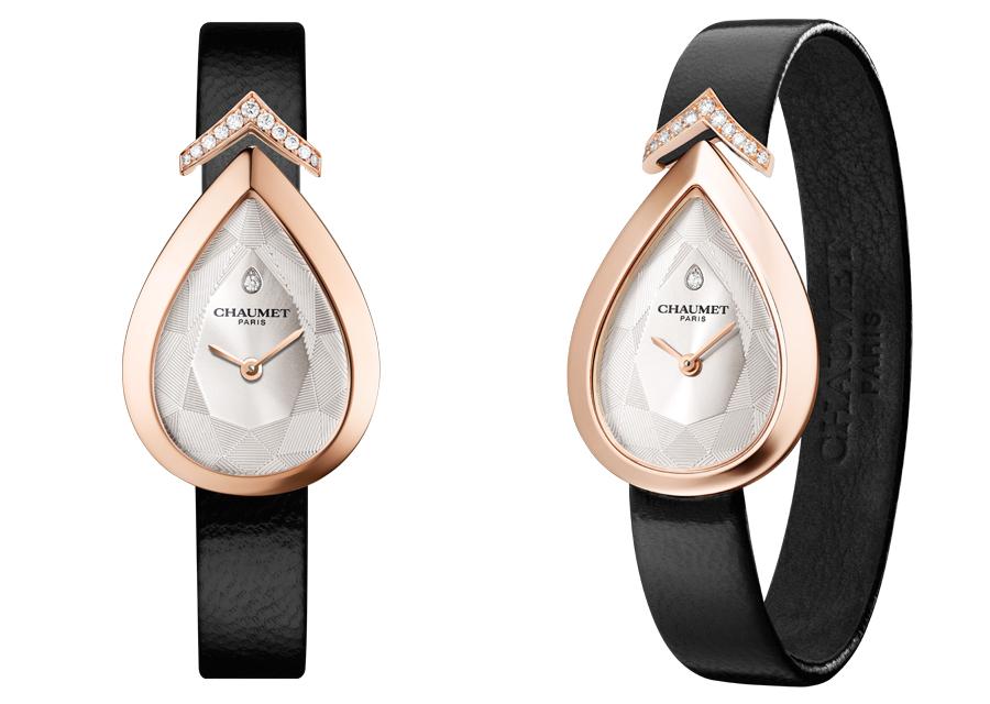 La montre Joséphine Aigrette de Chaumet en or rose et cadran blanc soleillé