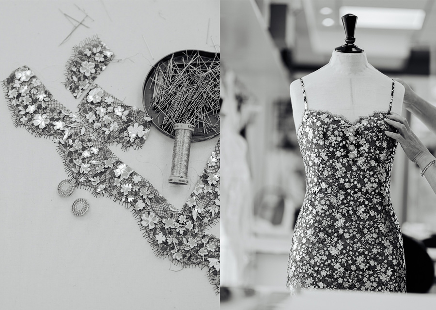 Les petites mains des ateliers de Chanel s'affairent sur la robe en dentelle de Margot Robbie, nouvelle ambassadrice de la montre J12