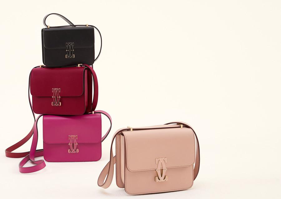 Les quatre coloris disponibles du sac Double C de Cartier