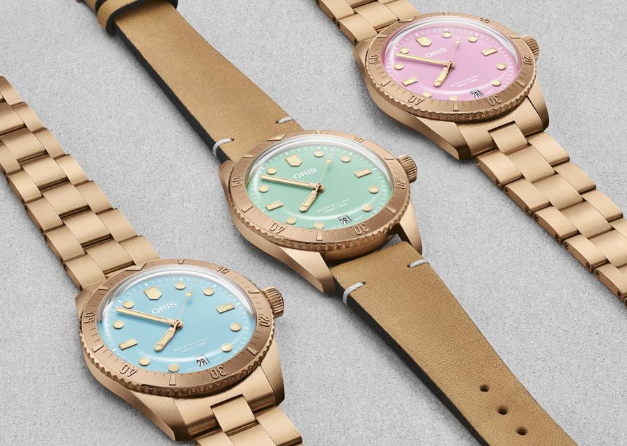 Les montres en bronze Oris Divers Sixty-Five Cotton Candy arborent des cadrans couleurs pastel