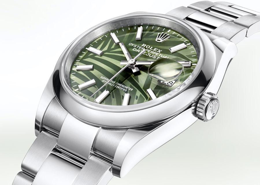Rolex Datejust 36 en acier Oystersteel et cadran vert palmiers