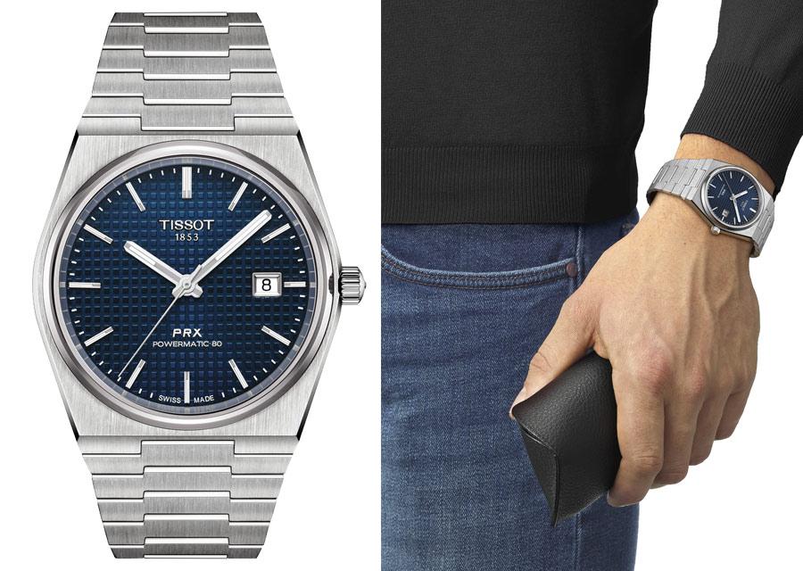 Cette montre Tissot PRX en acier cadran bleu est équipée du calibre Powermatic 80