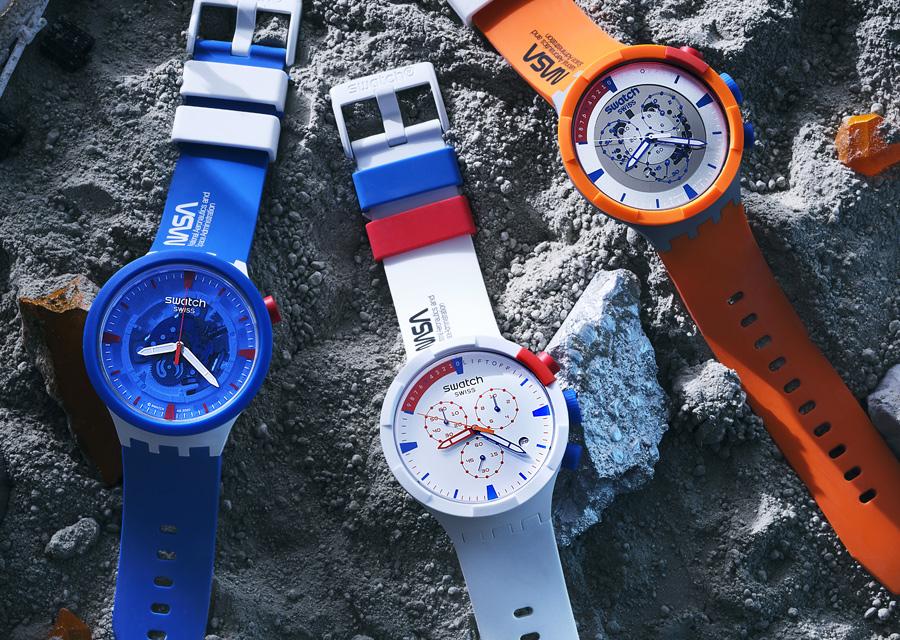 Montres de l'été idéales, les modèles Swatch Space Collection ont tous un boîtier très innovant en biocéramique