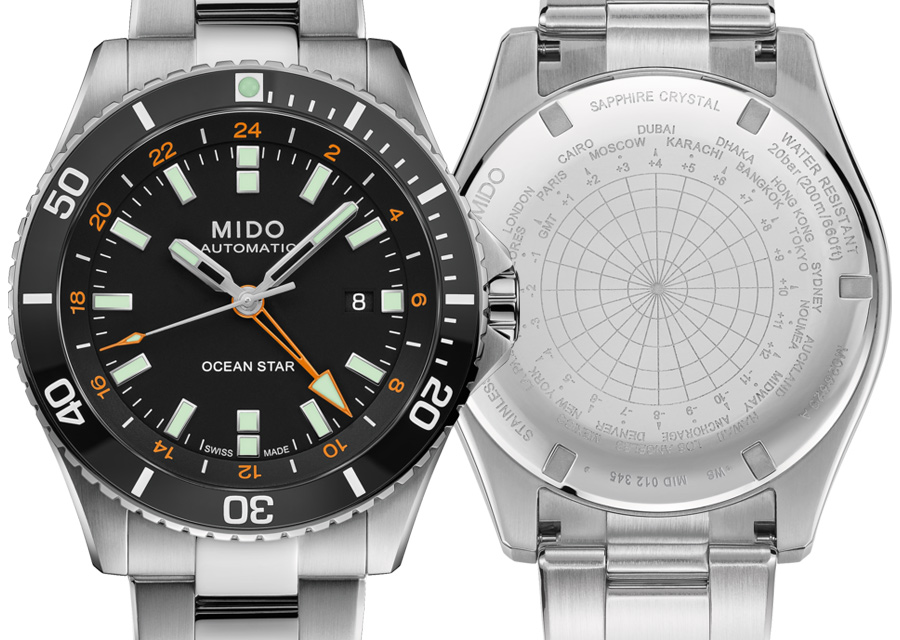La montre de plongée Mido Ocean Star GMT en acier possède une lunette en céramique noire