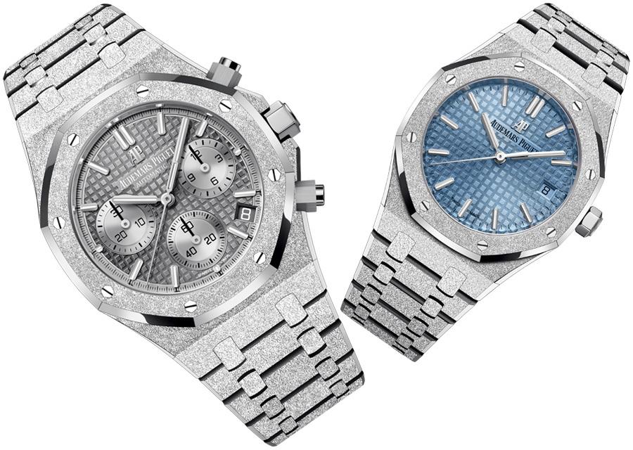 Royal Oak Frosted Gold : chronographe gris clair pour les hommes ou modèle trois aiguilles et date bleu clair pour les femmes.