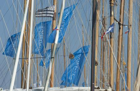Go ! The flags of the Mediterranean Circuit of the Panerai Classic Yachts Challenge float at the masts of the boats.