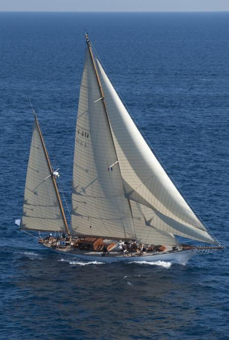 Built in 1936, Eilean, the Bermudian ketch, is one of the great sailing ships participating in the Mediterranean Circuit of the Panerai Classic Yachts Challenge.