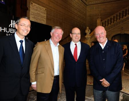 Robert Calcagno (CEO of the Institut Océanographique de Monaco), Sir Alex Ferguson (Coach of Manchester United), S.A.S Le Prince Albert II de Monaco et Jean-Claude Biver ©Cyrille Margarit - Artman Agency