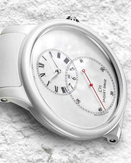 The white version and the iconic big second by Jaquet Droz.