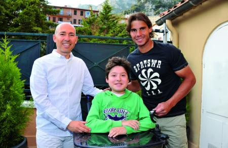 Luc Pettavino, President of the Monegasque Association against Muscular Dystrophies, with his son and Rafael Nadal in April at Monaco.