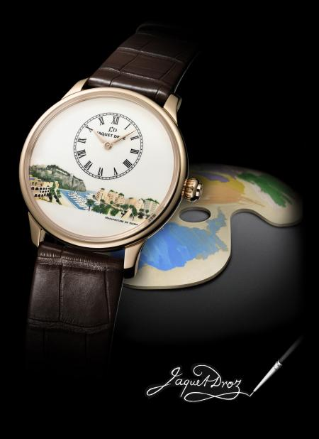 The model Petite Heure Minute by Jaquet Droz for Only Watch 2011 features a miniature of one of the most beautiful sites of the Principality of Monaco.