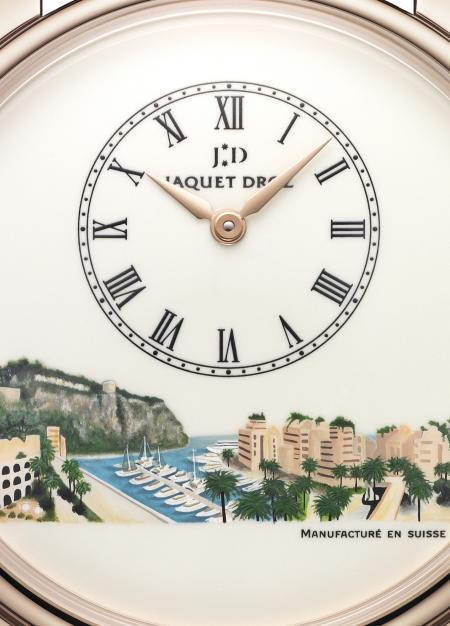 Focus on the ivory Grand Feu enameled dial of the beautiful watch created by Jaquet Droz for Only Watch 2011.