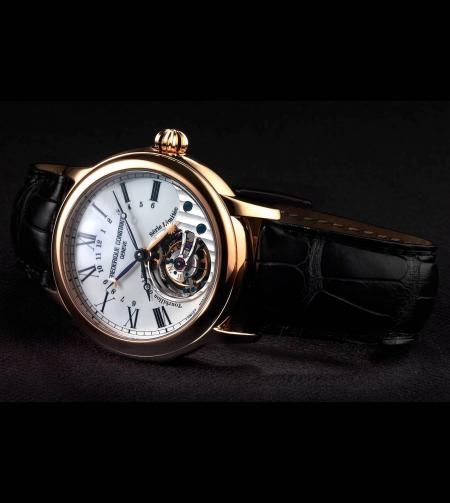 The Frédérique Constant watch sold to benefit the Children's Heart Foundation : the Tourbillon Manufacture in a version in pink gold with enamel dial