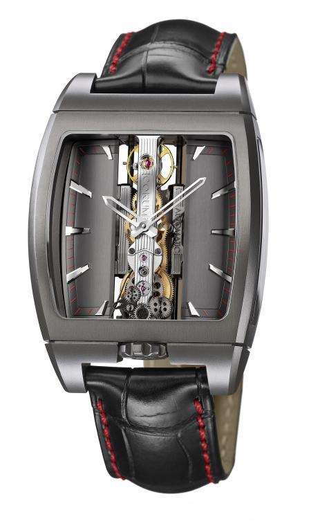 The Golden Bridge Automatic Only Watch also features an anthracite dial and a red minute track..