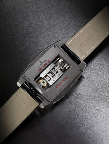 The automatic linear-winding baguette movement is also apparent on the case back.