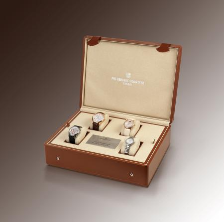 Four Frédérique Constant timepieces in a box set up the Family Set for the Only Watch auction organized for the research on Duchenne Muscular Distrophy.