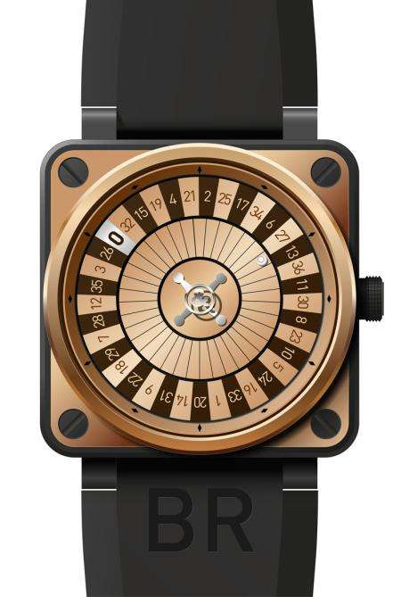 The BR01 CASINO Pink Gold Only Watch : case in pink gold and black PVD finish stainless steel, self-winding movement, hours, minutes and seconds display by three concentric disks, water-resistance 100 meters.
