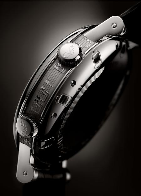Focus on the caseband, engraved with a musical stave, of the timepiece created by Breguet for Only Watch 2011.
