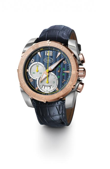 With the colors of the CBF, the Pershing Chronograph in titanium and rose gold offered to Ronaldo features five stars citing the five titles of World Cups won by Brazil.