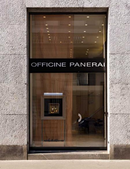 Boutique Officine Panerai front, in the heart of the Quadrilatero in Milan.