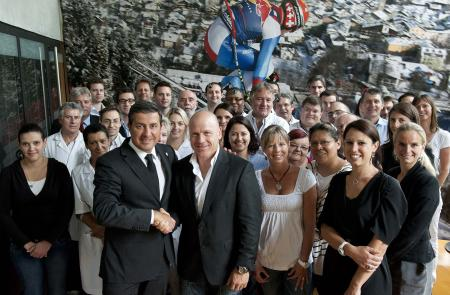 Shared values sealed by the partnership between skiing legend Didier Cuche and the Corum watch company.