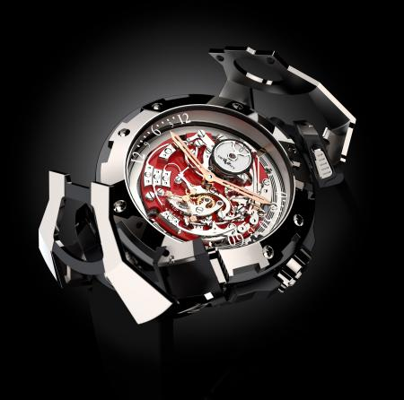 """The DeWitt X-Watch for Only Watch 2011 : a concept watch with a reversible movement - presented here on the chronograph's side - and with an articulated """"bonnet""""."""