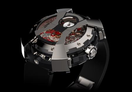 """The DeWitt X-Watch - presented here chronograph's side - with the articulated """"bonnet"""" in the shape of an """"X"""" in its closed position."""