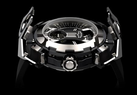 """The DeWitt X-Watch - presented here tourbillon's side - with the articulated """"bonnet"""" in the shape of an """"X"""" in its opended position."""